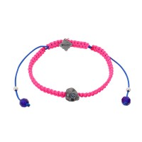 Baby Skull, Blue Tourmaline, Bohemian Glass beads on a braided Hot Pink Cord.