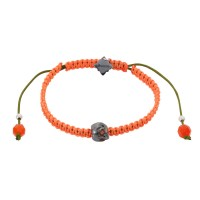 Baby Skull, Orange Citrine, Bohemian Glass beads on a braided Orange Cord.