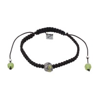 Baby Skull, Peridot, Bohemian Glass beads on a braided Black Cord.