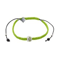 Baby Skull, Peridot, Bohemian Glass beads on a braided Neon Lime Cord.