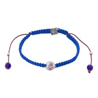 Baby Skull, Pink Tourmaline, Bohemian Glass beads on a braided Cobalt Blue Cord.