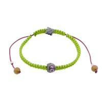 Baby Skull, Pink Tourmaline, Bohemian Glass beads on a braided Neon Lime Cord.