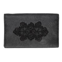 Somnus Aeternus Frame of Roses Hand Embroidered Black Victorian Lace and Distressed Leather Large Wallet.