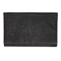 Washed Black Leather Large Wallet