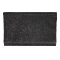 Washed Black Leather Large Wallet