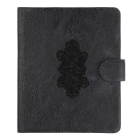 Somnus Aeternus Frame of Roses Hand Embroidered Black Victorian Lace and Distressed Leather iPad Cover Sleeve.