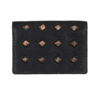 Studs Effect Printed Leather Card Holder