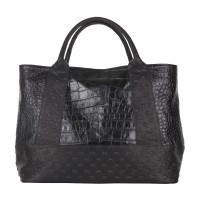 Studs and Croc Effect Printed Leather Large Shopper Handbag