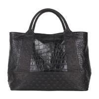 Studs and Croc Effect Printed Leather Large Shopper Handbag
