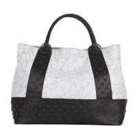 Studs Effect Printed Two Tone Leather Large Shopper Handbag