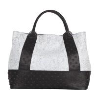 Studs Effect Printed Two Tone Leather Large Shopper Handbag